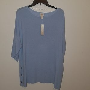 Chicos light blue 3/4 sleeve sweater